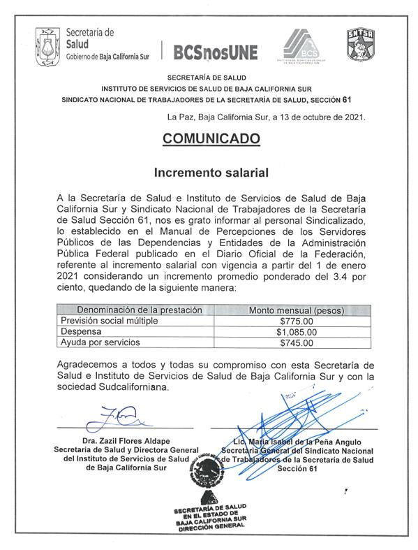 Comunicado «Incremento Salarial»