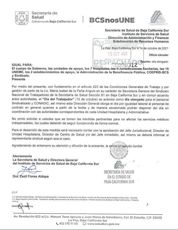Oficio Día Otorgado por el «Día del Trabajador de la Secretaría de Salud»