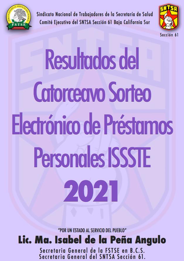 Resultados del Catorceavo Sorteo Electrónico de Préstamos Personales ISSSTE 2021