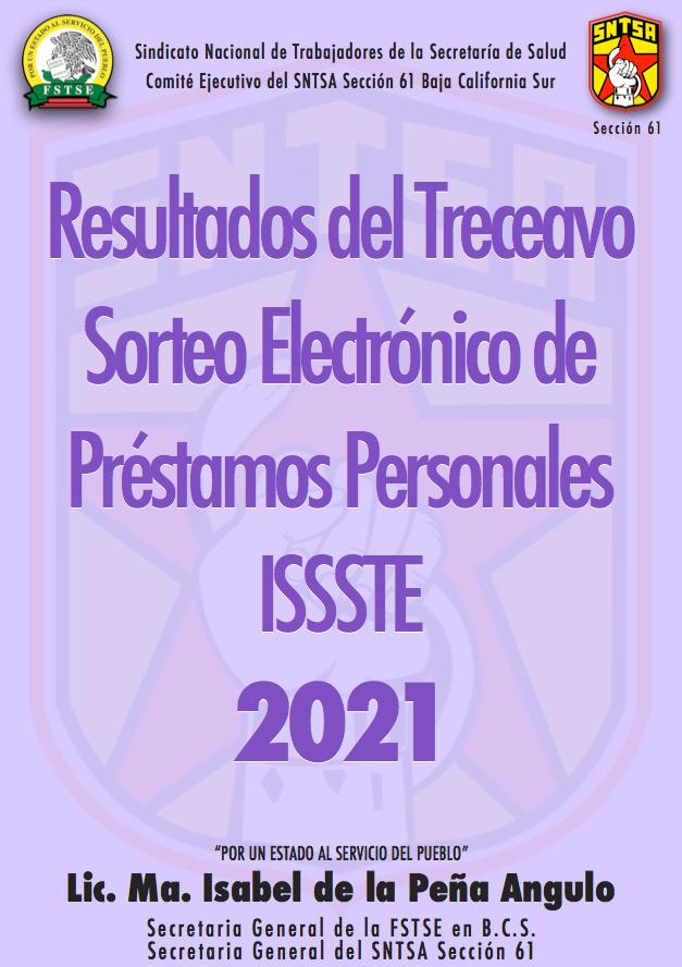 Resultados del Treceavo Sorteo Electrónico de Préstamos Personales ISSSTE 2021